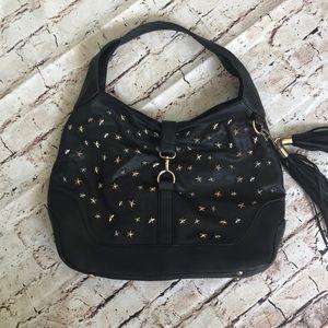 Yoki black studded shoulder bag